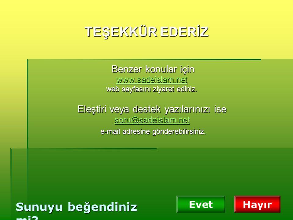 TEŞEKKÜR EDERİZ Benzer konular için www. sadeislam