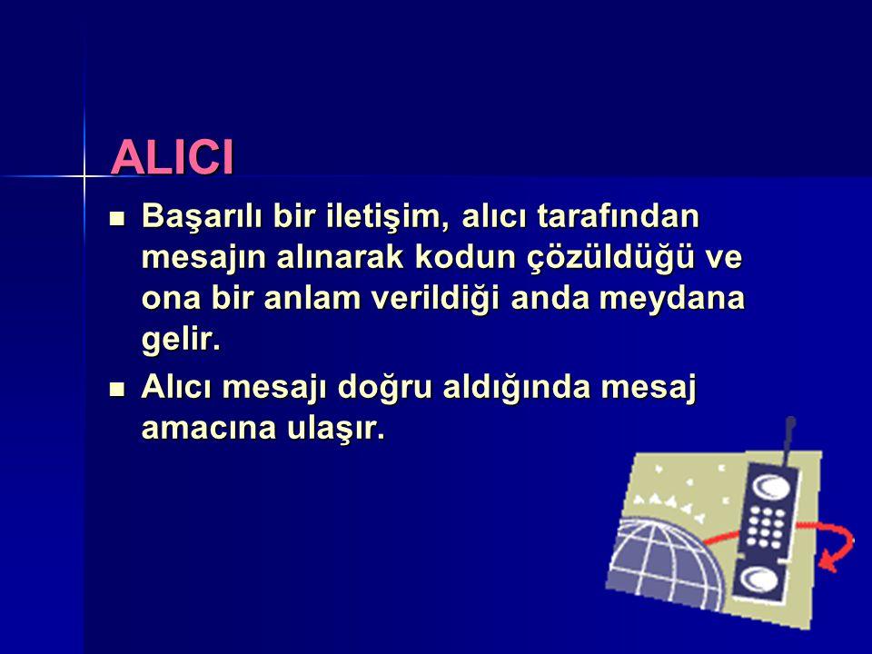 ALICI Başarılı bir iletişim, alıcı tarafından mesajın alınarak kodun çözüldüğü ve ona bir anlam verildiği anda meydana gelir.