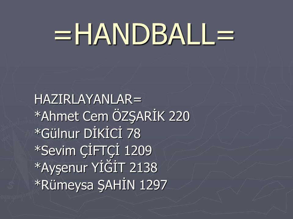 =HANDBALL= HAZIRLAYANLAR= *Ahmet Cem ÖZŞARİK 220 *Gülnur DİKİCİ 78