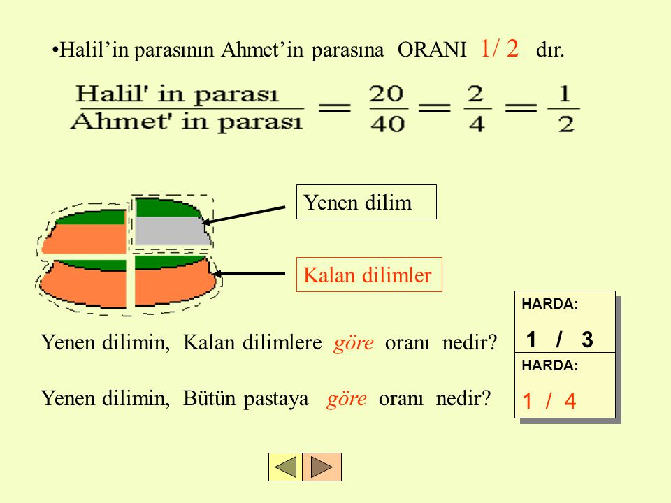 Halil'in parasının Ahmet'in parasına ORANI 1/ 2 dır.