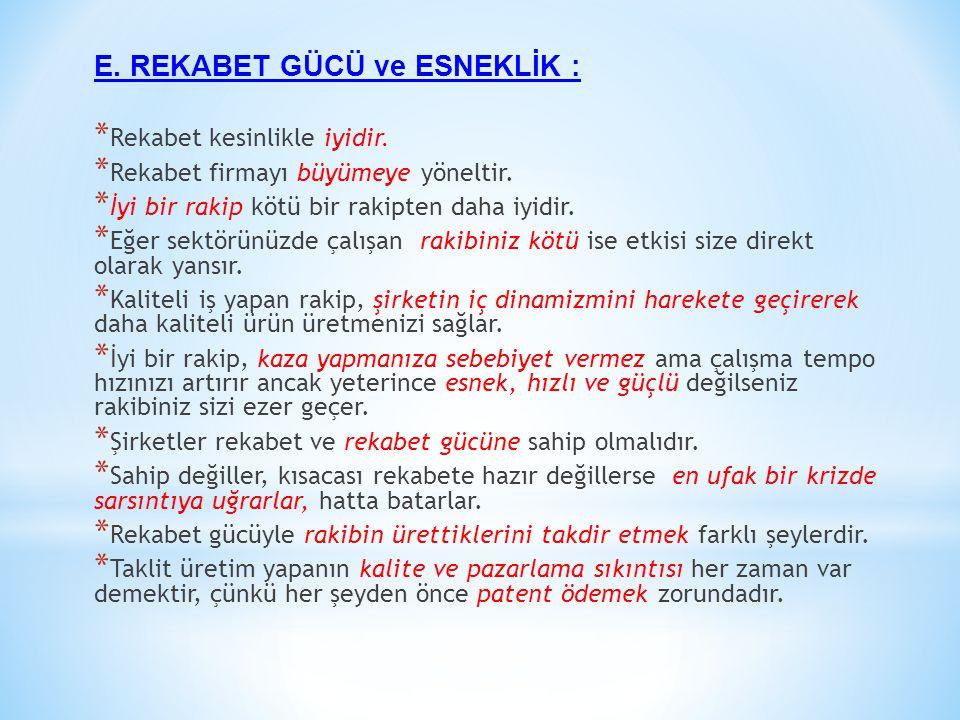 E. REKABET GÜCÜ ve ESNEKLİK :