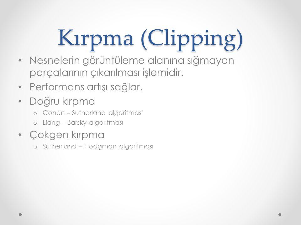 Kırpma (Clipping) Nesnelerin görüntüleme alanına sığmayan parçalarının çıkarılması işlemidir. Performans artışı sağlar.