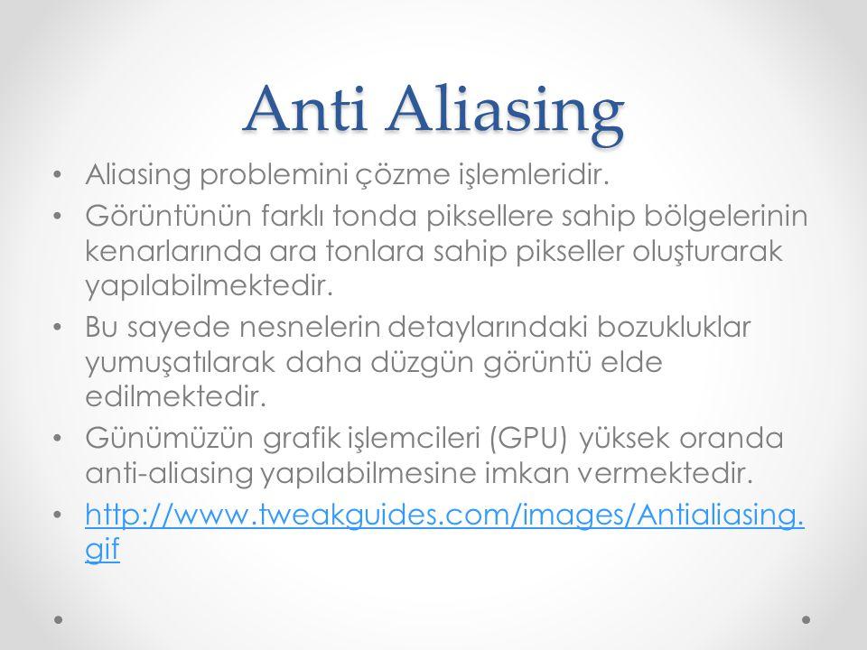 Anti Aliasing Aliasing problemini çözme işlemleridir.
