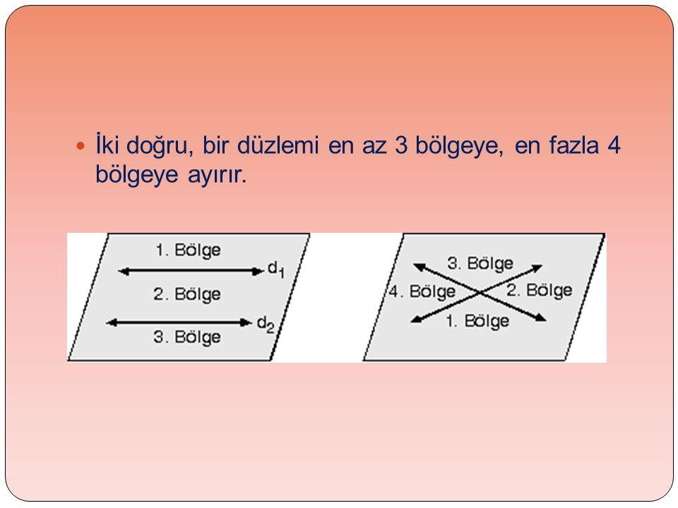 İki doğru, bir düzlemi en az 3 bölgeye, en fazla 4 bölgeye ayırır.
