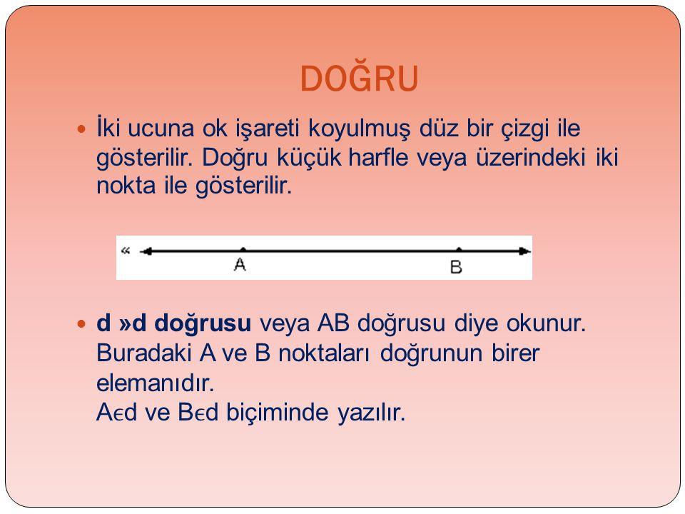 DOĞRU İki ucuna ok işareti koyulmuş düz bir çizgi ile gösterilir. Doğru küçük harfle veya üzerindeki iki nokta ile gösterilir.