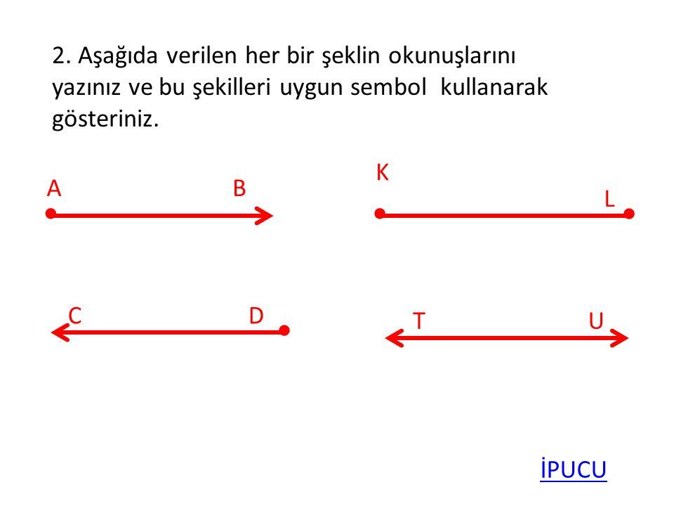 2. Aşağıda verilen her bir şeklin okunuşlarını yazınız ve bu şekilleri uygun sembol kullanarak