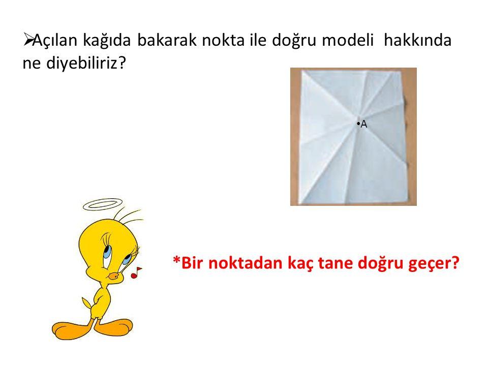 Açılan kağıda bakarak nokta ile doğru modeli hakkında ne diyebiliriz