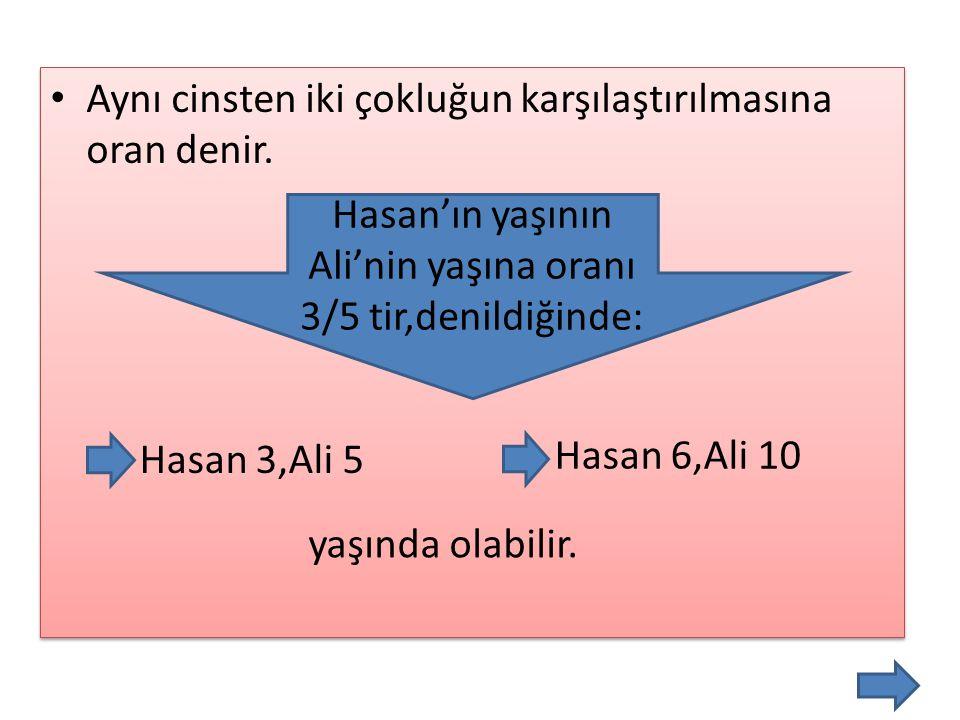 Hasan'ın yaşının Ali'nin yaşına oranı 3/5 tir,denildiğinde: