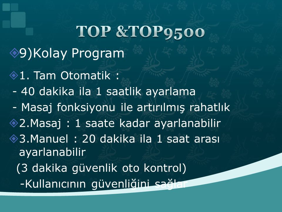 TOP &TOP9500 9)Kolay Program 1. Tam Otomatik :