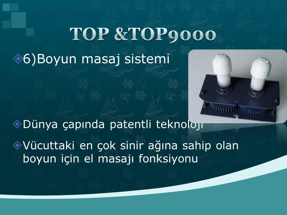 TOP &TOP9000 6)Boyun masaj sistemi Dünya çapında patentli teknoloji