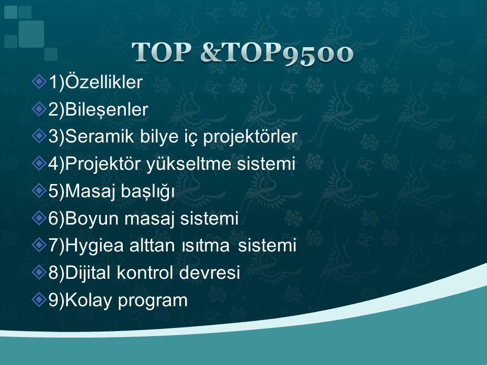 TOP &TOP9500 1)Özellikler 2)Bileşenler 3)Seramik bilye iç projektörler