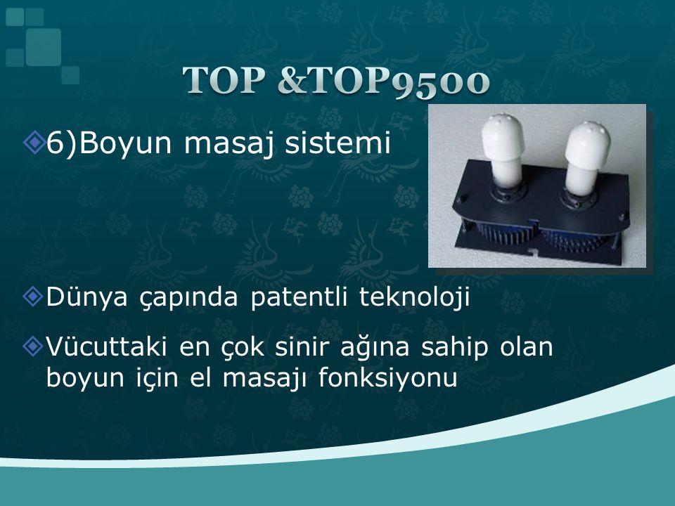 TOP &TOP9500 6)Boyun masaj sistemi Dünya çapında patentli teknoloji