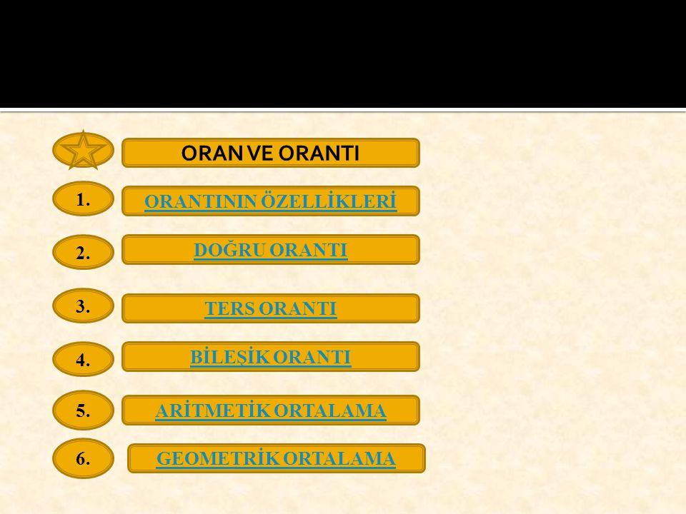 ORANTININ ÖZELLİKLERİ