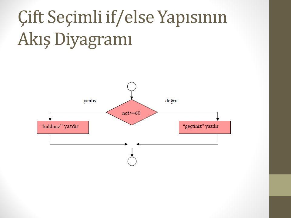 Çift Seçimli if/else Yapısının Akış Diyagramı