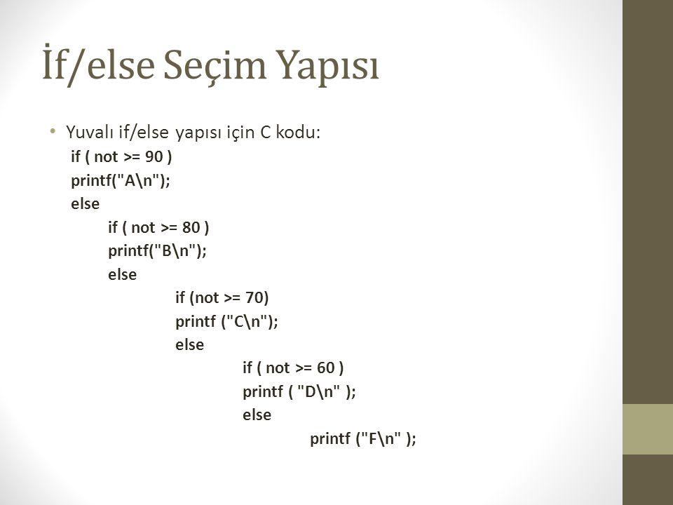 İf/else Seçim Yapısı Yuvalı if/else yapısı için C kodu: