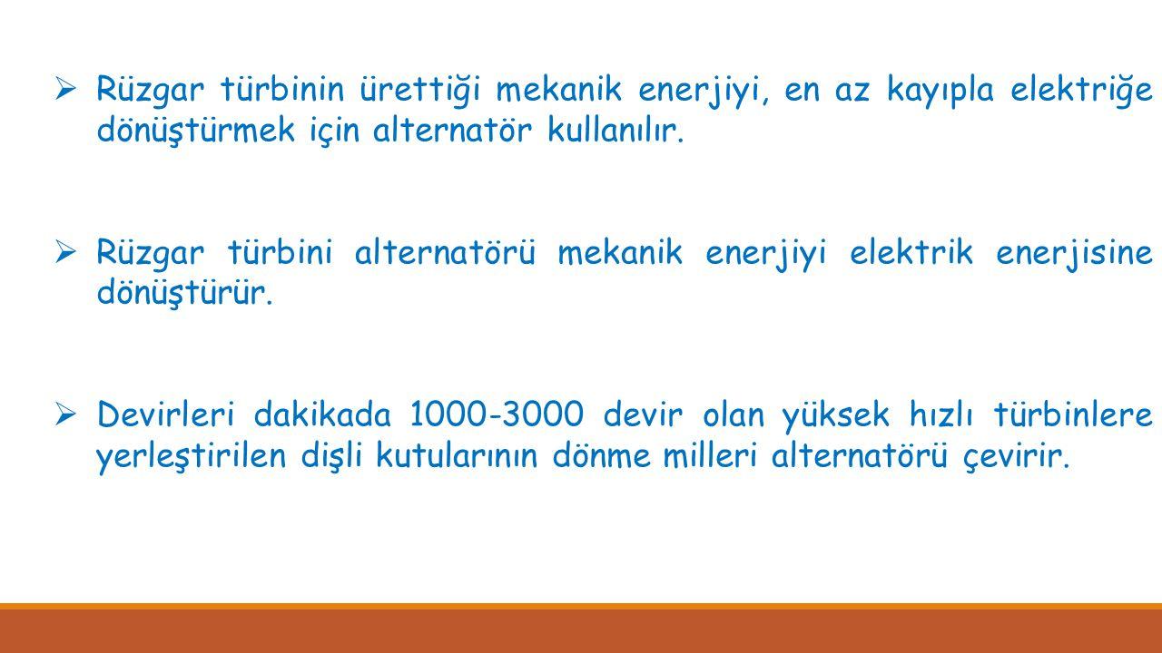 Rüzgar türbinin ürettiği mekanik enerjiyi, en az kayıpla elektriğe dönüştürmek için alternatör kullanılır.