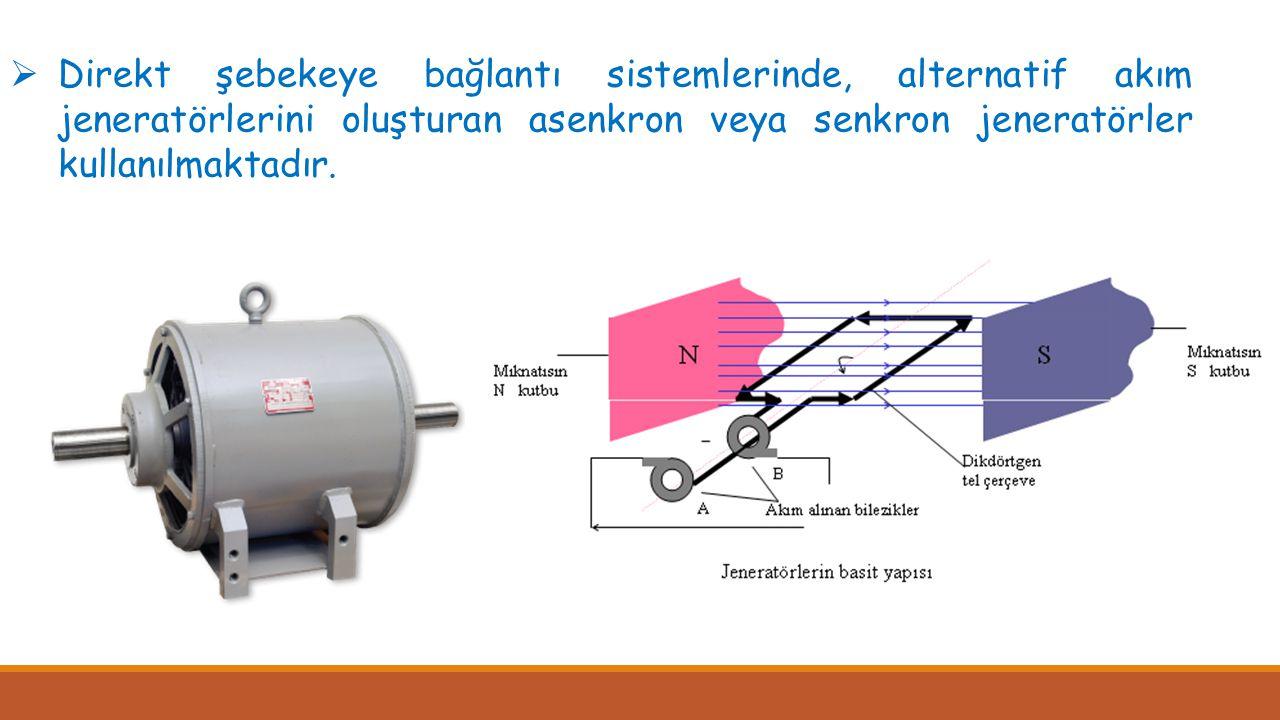 Direkt şebekeye bağlantı sistemlerinde, alternatif akım jeneratörlerini oluşturan asenkron veya senkron jeneratörler kullanılmaktadır.