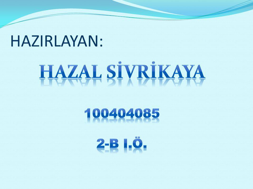 HAZIRLAYAN: HAZAL SİVRİKAYA 100404085 2-b i.ö.