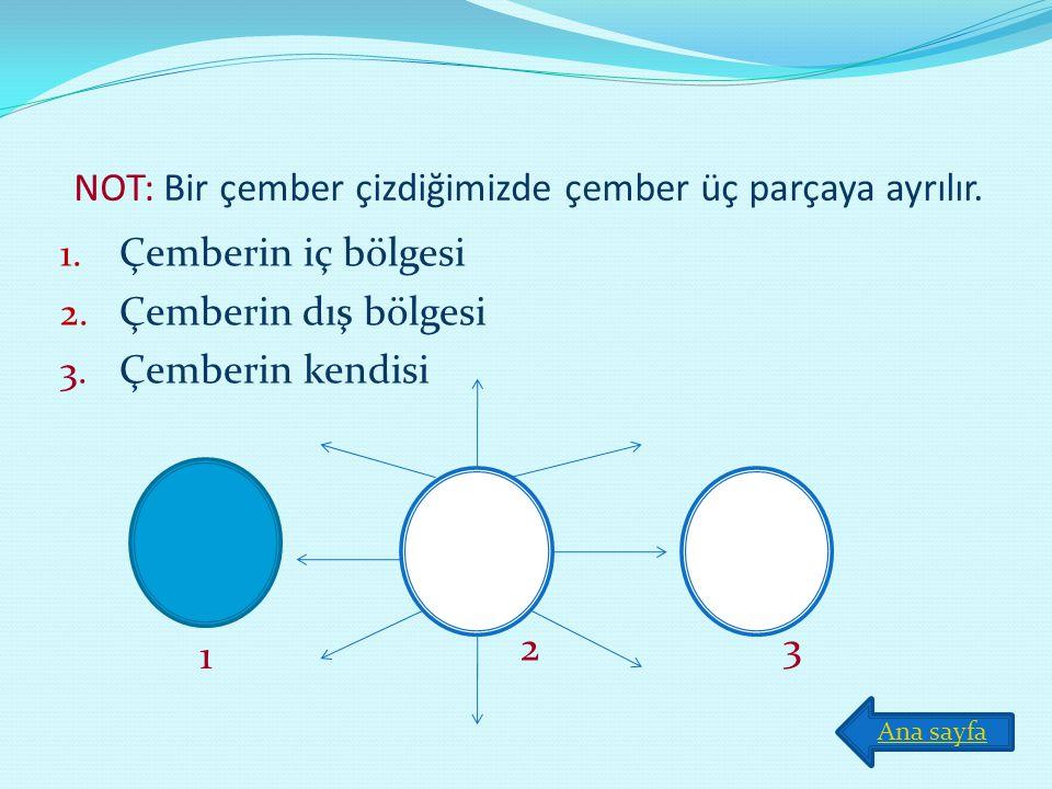 NOT: Bir çember çizdiğimizde çember üç parçaya ayrılır.