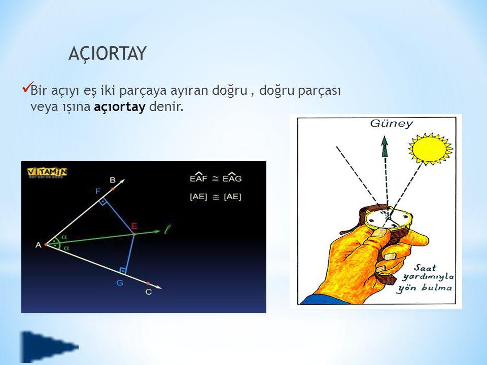 AÇIORTAY Bir açıyı eş iki parçaya ayıran doğru , doğru parçası veya ışına açıortay denir.