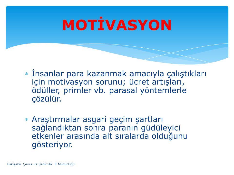 MOTİVASYON İnsanlar para kazanmak amacıyla çalıştıkları için motivasyon sorunu; ücret artışları, ödüller, primler vb. parasal yöntemlerle çözülür.