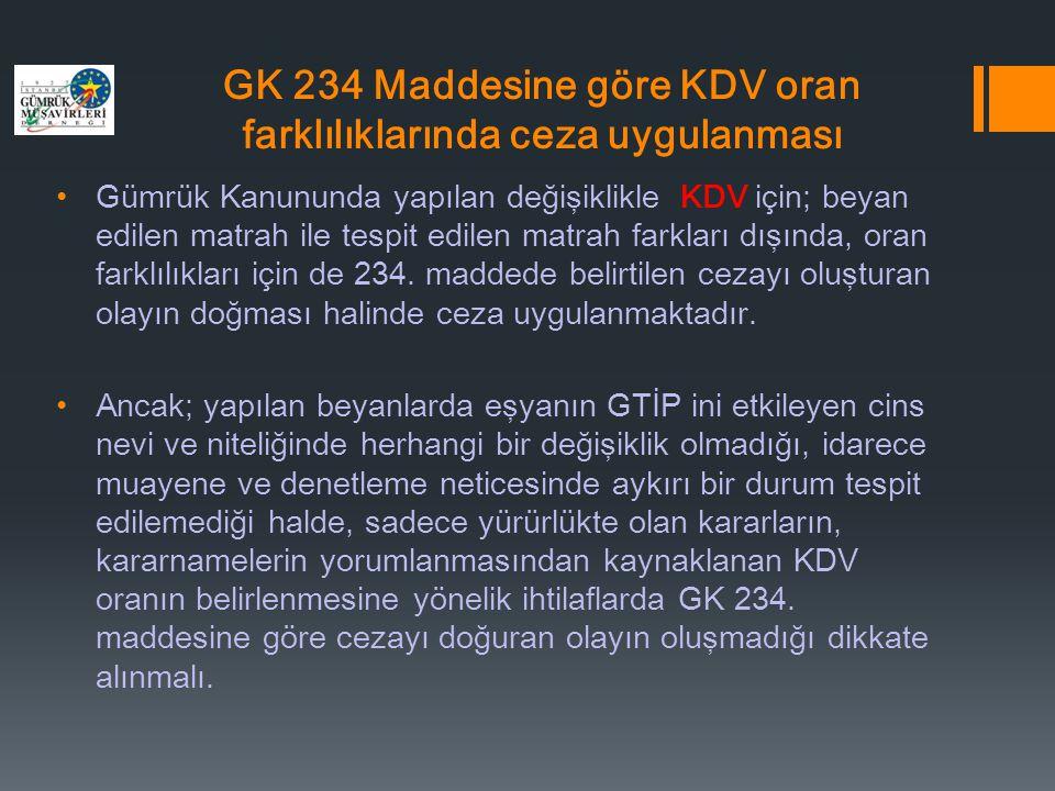 GK 234 Maddesine göre KDV oran farklılıklarında ceza uygulanması