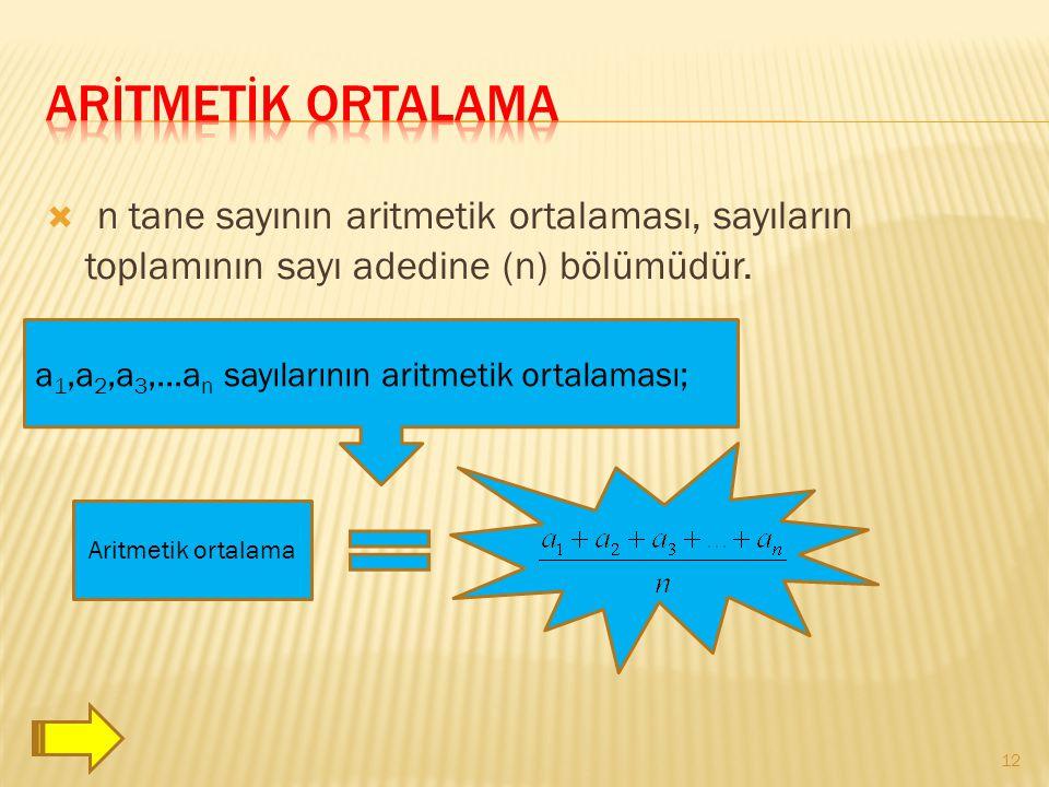 ArİtmetİK ORTALAMA n tane sayının aritmetik ortalaması, sayıların toplamının sayı adedine (n) bölümüdür.