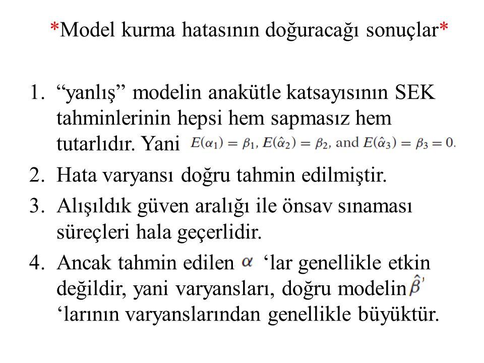 *Model kurma hatasının doğuracağı sonuçlar*