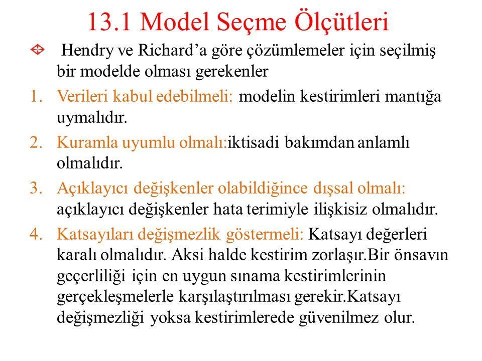 13.1 Model Seçme Ölçütleri Hendry ve Richard'a göre çözümlemeler için seçilmiş bir modelde olması gerekenler.