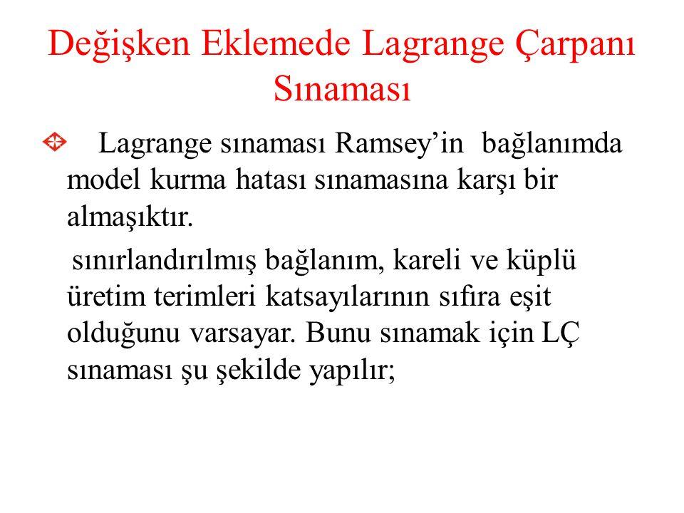Değişken Eklemede Lagrange Çarpanı Sınaması