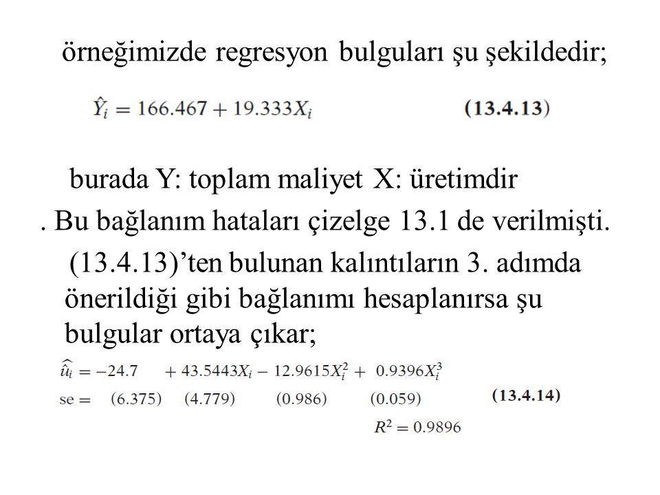 örneğimizde regresyon bulguları şu şekildedir; burada Y: toplam maliyet X: üretimdir .
