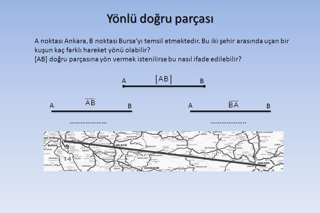 Yönlü doğru parçası A noktası Ankara, B noktası Bursa'yı temsil etmektedir. Bu iki şehir arasında uçan bir kuşun kaç farklı hareket yönü olabilir