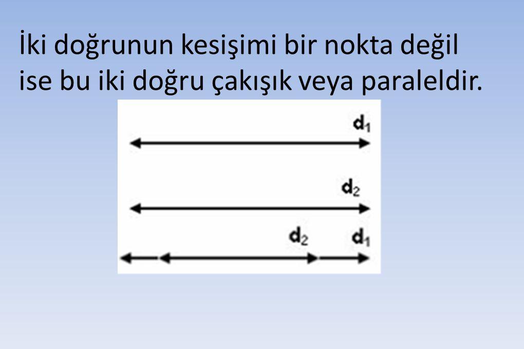 İki doğrunun kesişimi bir nokta değil ise bu iki doğru çakışık veya paraleldir.