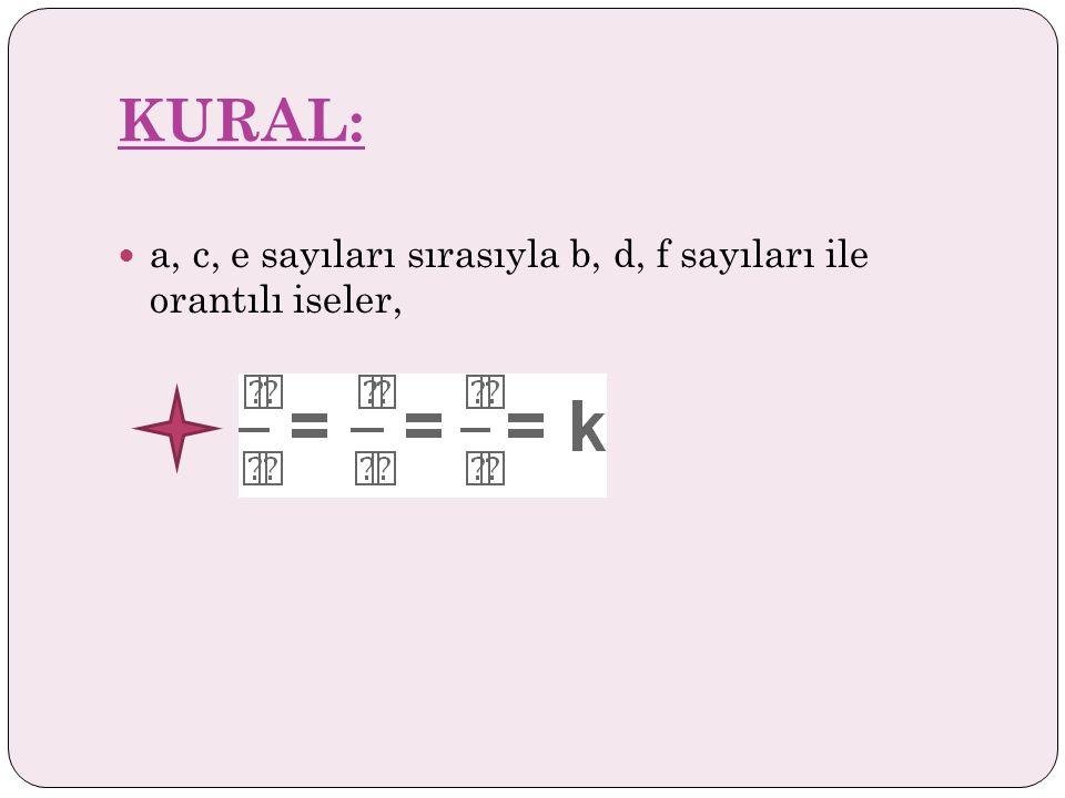 KURAL: a, c, e sayıları sırasıyla b, d, f sayıları ile orantılı iseler,