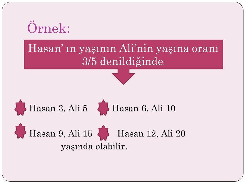 Hasan' ın yaşının Ali'nin yaşına oranı 3/5 denildiğinde:
