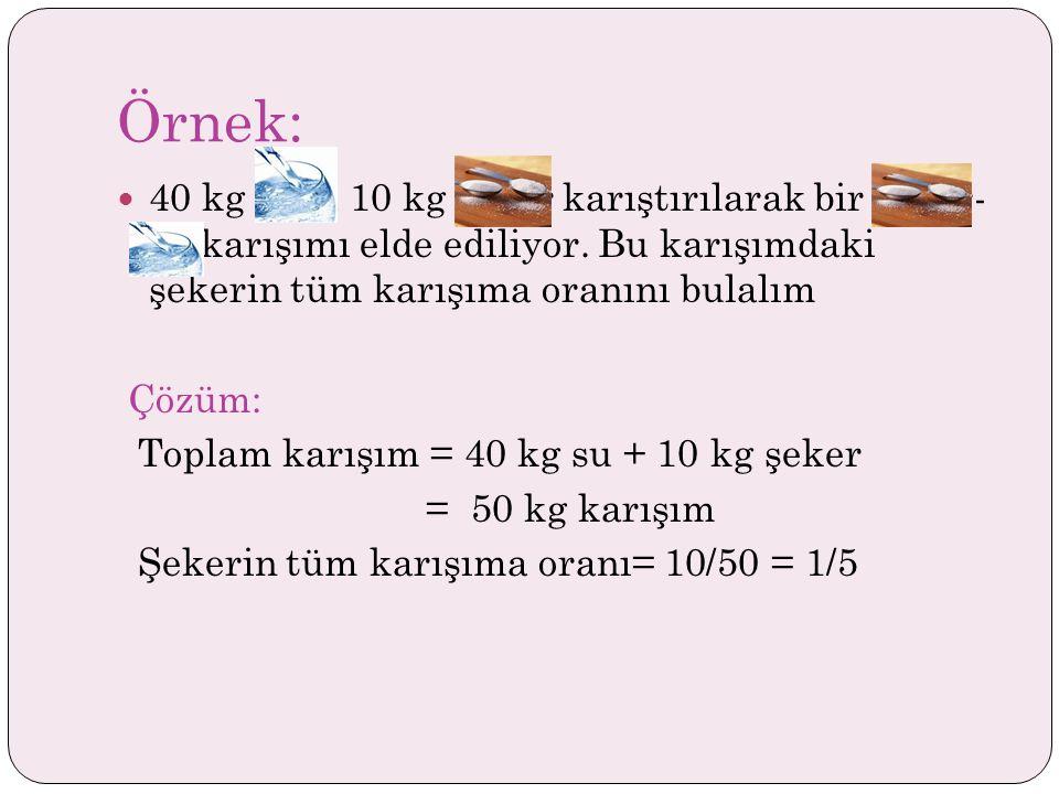 Örnek: 40 kg suya 10 kg şeker karıştırılarak bir şeker- su karışımı elde ediliyor. Bu karışımdaki şekerin tüm karışıma oranını bulalım.