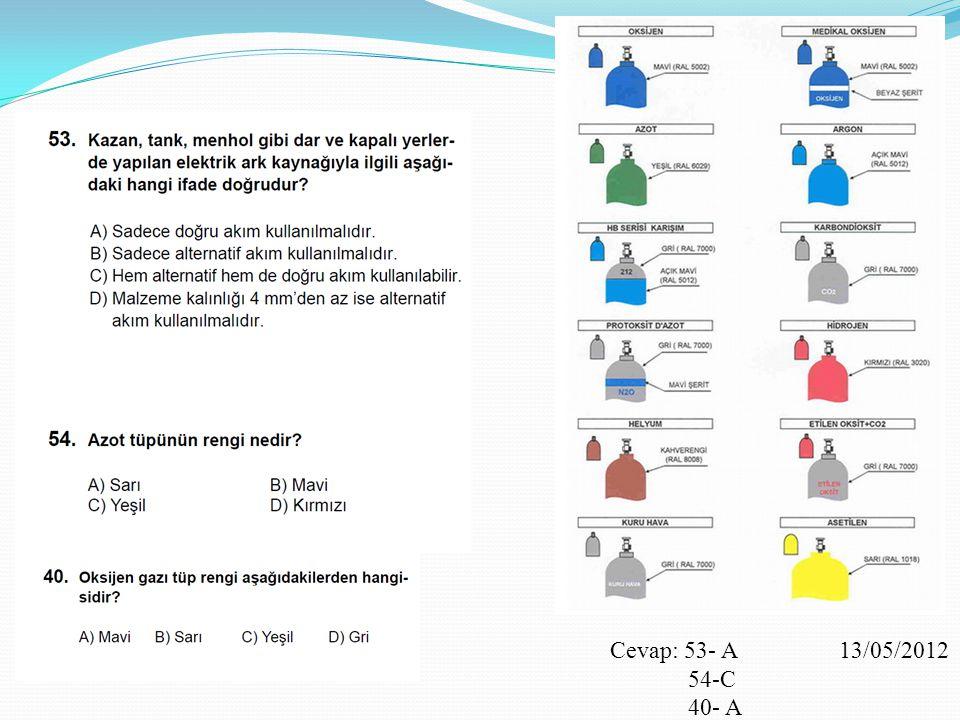 Cevap: 53- A 13/05/2012 54-C 40- A