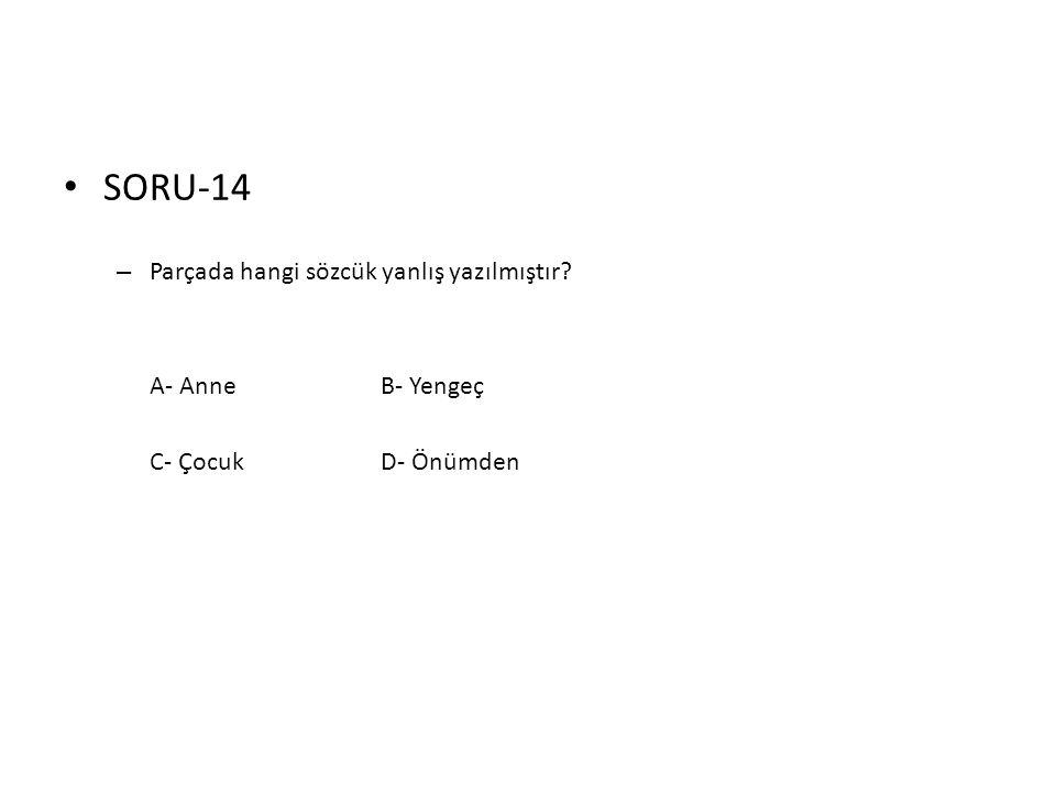 SORU-14 Parçada hangi sözcük yanlış yazılmıştır A- Anne B- Yengeç