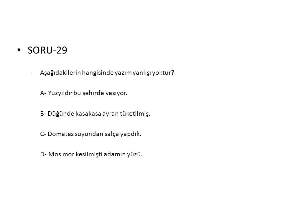 SORU-29 Aşağıdakilerin hangisinde yazım yanlışı yoktur