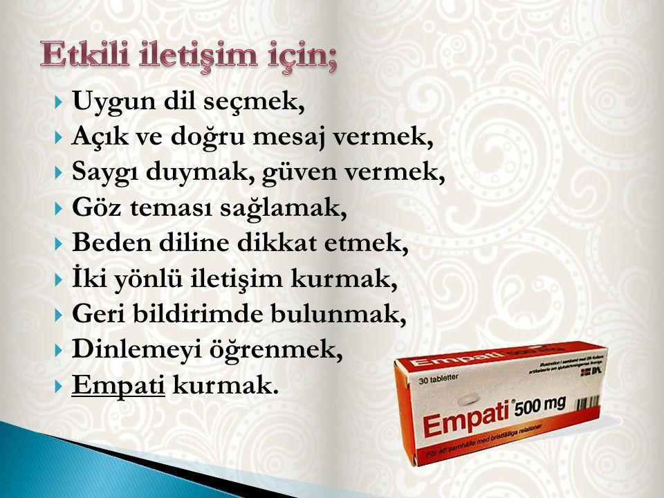 Etkili iletişim için; Uygun dil seçmek, Açık ve doğru mesaj vermek,