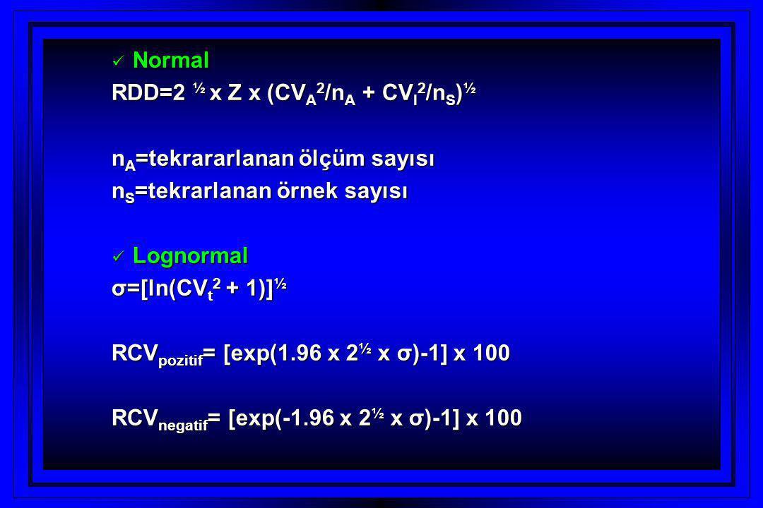 RDD=2 ½ x Z x (CVA2/nA + CVI2/nS)½ nA=tekrararlanan ölçüm sayısı