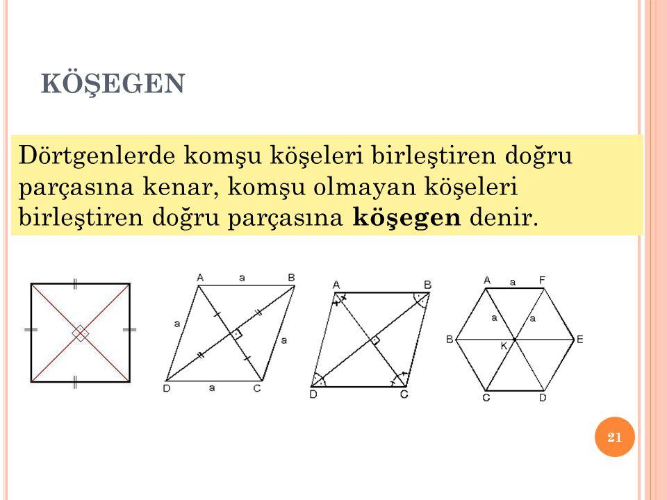 köşegen Dörtgenlerde komşu köşeleri birleştiren doğru parçasına kenar, komşu olmayan köşeleri birleştiren doğru parçasına köşegen denir.