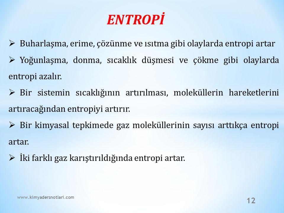 ENTROPİ Buharlaşma, erime, çözünme ve ısıtma gibi olaylarda entropi artar.