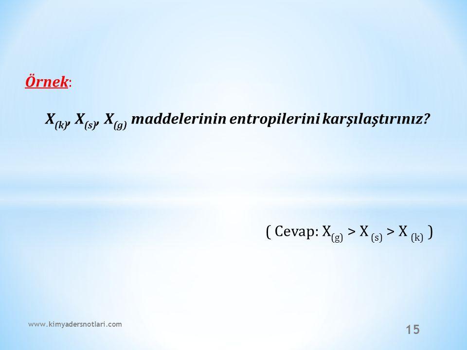 X(k), X(s), X(g) maddelerinin entropilerini karşılaştırınız