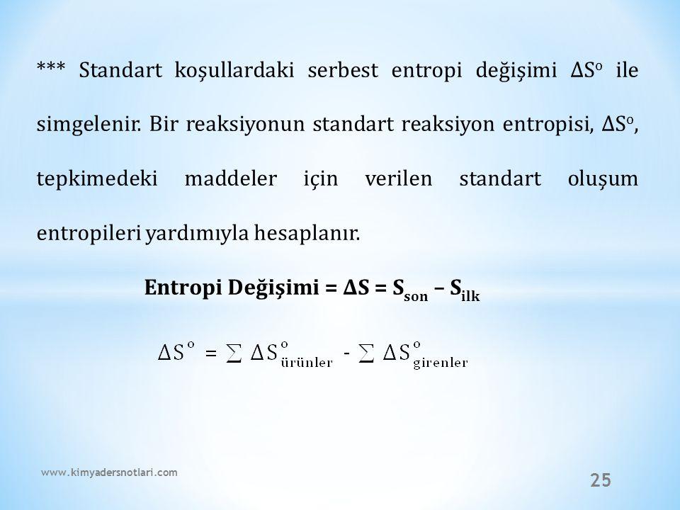 Entropi Değişimi = ∆S = Sson – Silk