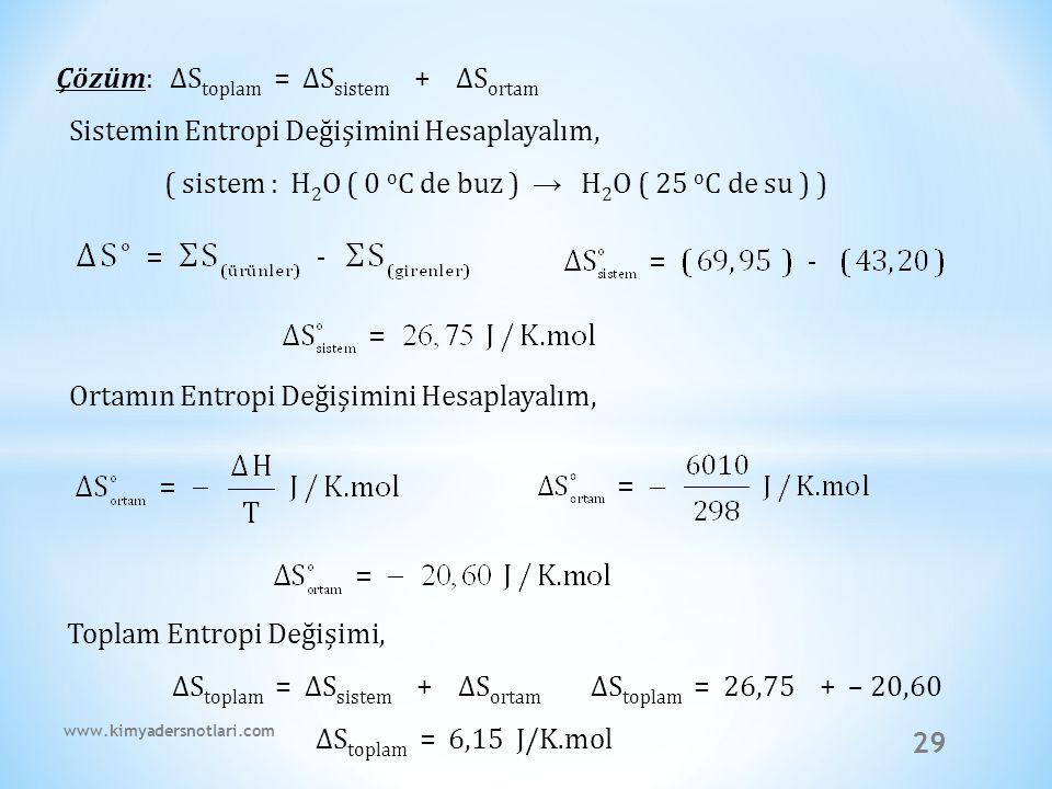 Çözüm: ∆Stoplam = ∆Ssistem + ∆Sortam