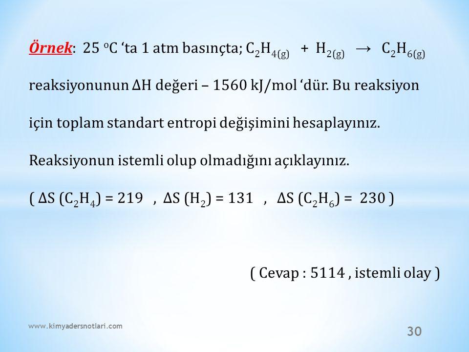 ( ∆S (C2H4) = 219 , ∆S (H2) = 131 , ∆S (C2H6) = 230 )
