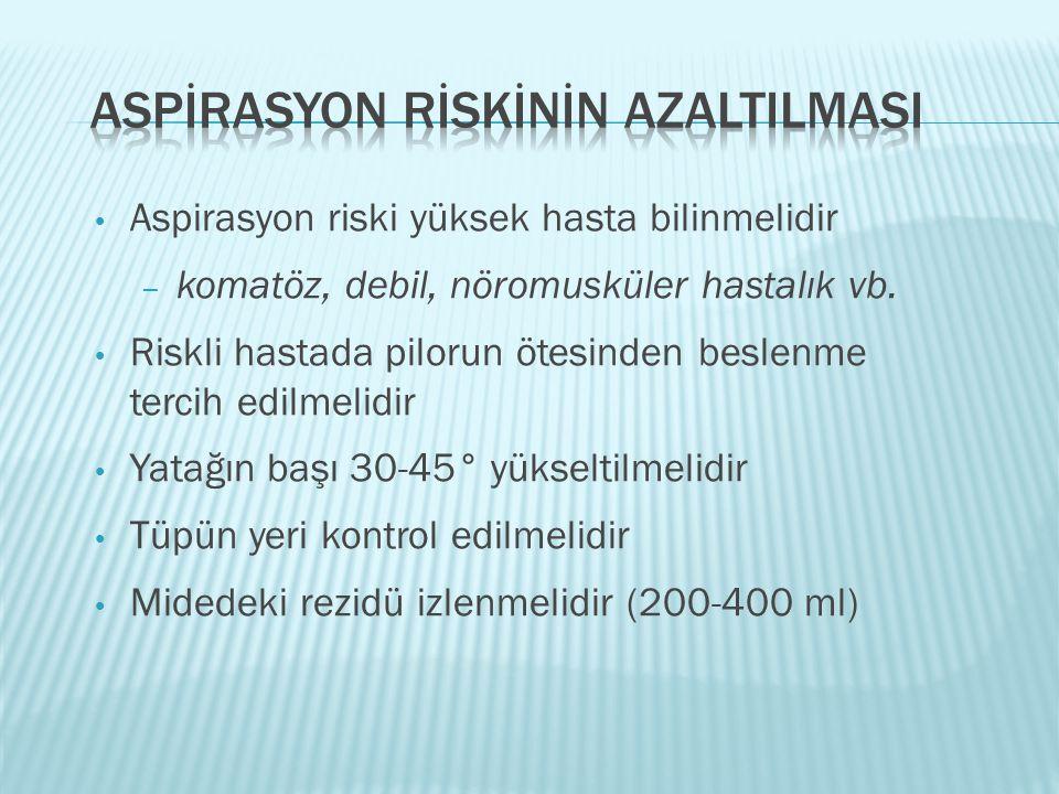 ASPİRASYON RİSKİNİN AZALTILMASI