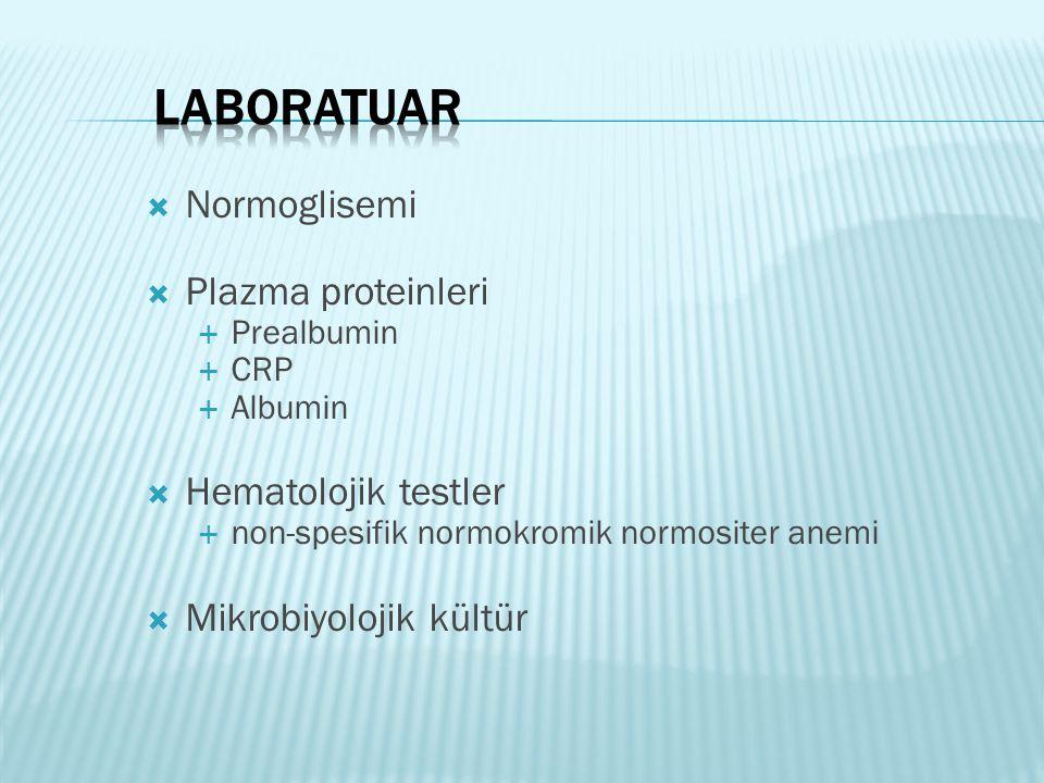Laboratuar Normoglisemi Plazma proteinleri Hematolojik testler