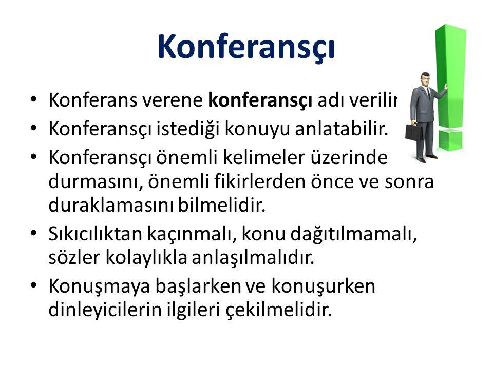 Konferansçı Konferans verene konferansçı adı verilir.
